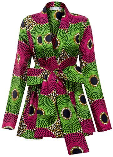 Shenbolen Women African Traditional Batik Print Long Sleeve Shirt Dashiki Casual Cotton Shirt (X-Large, MulticolorB)