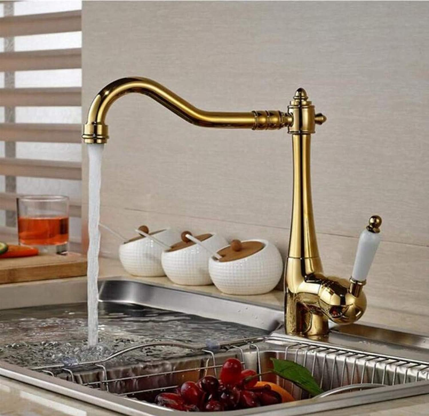 Brass Chrome Hot and Cold Water Faucet golden Nickel Chrome Antique Brass Ceramic Single Handle Kitchen Sink Faucet Wash Basin Water Mixer Tap