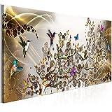 murando Akustikbild a'la Gustav Klimt 135x45 cm Bilder Hochleistungsschallabsorber Schallschutz Leinwand Akustikdämmung 1 TLG Wandbild Raumakustik Schalldämmung - Abstrakt Kolibri l-C-0008-b-b