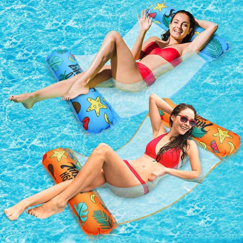 2 Pack Water Hammock, Unique One-Click Inflate Hammock Inflatable Pool Float Comfortable Inflatable Hammock Float Fun Backyard Swimming Pool Hammock 4-in-1 Multi-Purpose for Adults and Kids