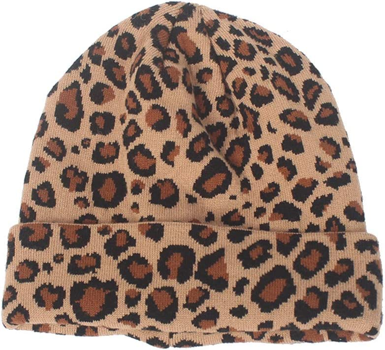 VALICLUD Camel Leopard Lady Wool Knitted Hat Woman Warm Knit Cap Fashion Beanie for Autumn Winter Gift