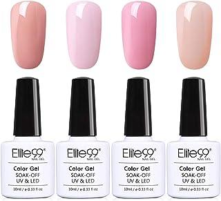 3 en 1 Esmaltes Semipermanentes de Uñas en Gel UV LED 4 Colores Un paso Esmaltes de Uñas Soak off Gel de Elite99 001