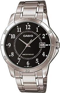 ساعة يد بسوار ستانلس ستيل بمينا لون اسود للرجال من كاسيو - MTP-V004D-1، انالوج بعقارب، كوارتز