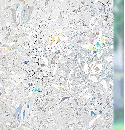Película para cristales de privacidad para ventanas con diseño de arcoíris, lámina decorativa de colores, anticalor, anti UV, adherencia estática (45 x 200 cm)