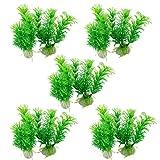 "sourcing map 10 Pc Verde Vivace Acquatico plastica Decorazioni vegetali 3 9/10"" per Pesci Acquario Vasca"