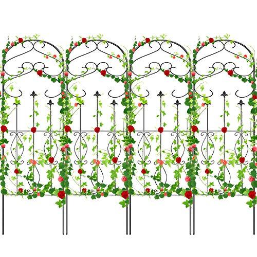 "Amagabeli 4 Pack Garden Trellis for Climbing Plants 60"" x 18"" Rustproof Sturdy Black Iron Trellis for Potted Plants Support Lattice Metal Trellis for Climbing Roses Vines Flower Vegetable GT01"