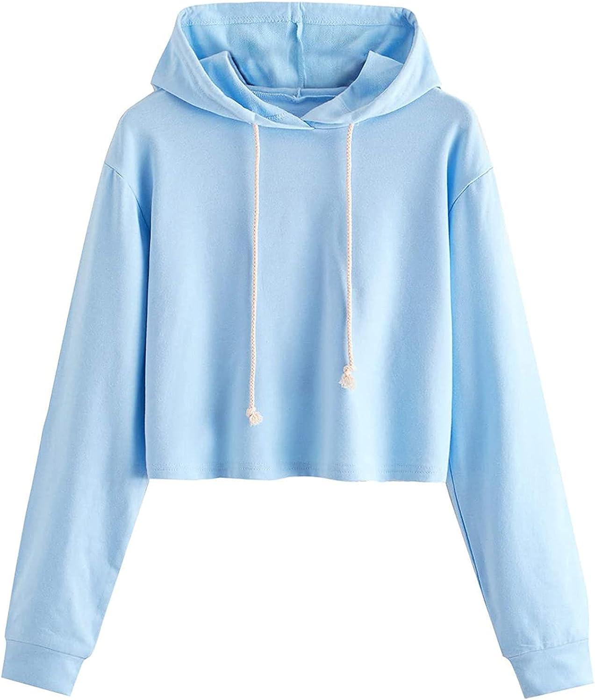 MASZONE Crop Hoodies for Teen Girls Trendy Solid Color Casual Long Sleeves Hoodies Lightweight Sweatshirt Pullover Tops