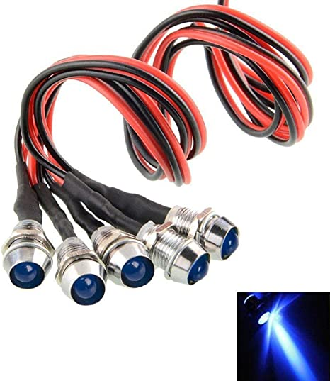 5 PCS LED Indicateur Ampoule 12V Costume de Lampe LED pour Voiture Camion Bateau et Voiture de Contr/ôle de Voiture de Mod/èle Blanc