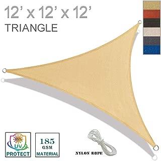 SUNNY GUARD 12' x 12' x 12' Sand Triangle Sun Shade Sail UV Block for Outdoor Patio Garden