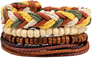 Mens Bracelet Set Beads Leather Stranded Multilayer Braided Rope Adjustable