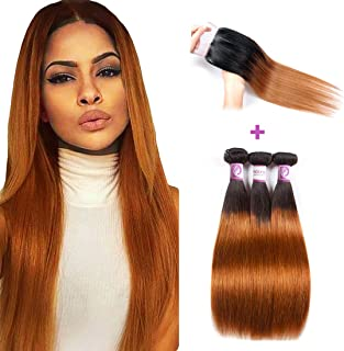 RACILY 1B/30 Ombre Brazilian Hair Straight 3 Bundles with Closure Black to Dark Brown Silky Straight Virgin Human Hair Free Middle Three Part Lace Closure Baby Hair (10