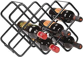 mDesign Estante para botellas y vino – Bonito botellero de metal en tres niveles con capacidad para hasta 8 botellas – Mueble botellero de pie para botellas de vino y otras bebidas – negro