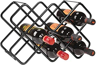 mDesign Metal Free-Standing Wine Rack Storage Organizer for Kitchen Countertops, Pantry, Fridge - Stores Wine, Beer, Pop/Soda, Water Bottles - 3 Levels, Holds 8 Bottles - Black