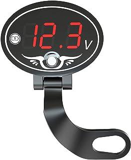 Sangmei Voltímetro para motocicleta 12V Multifuncional à prova d'água Medidor de voltagem com painel de exibição digital L...