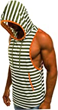 Men's Tank Tops Casual Muscle Print Hooded Sleeveless Tee Top Fitness Hem Shaper Sport Vest