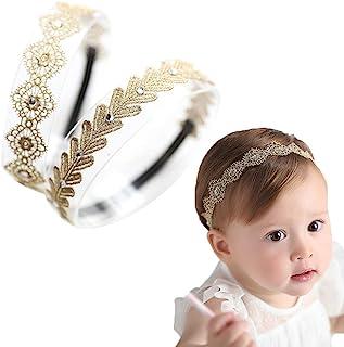 Best Baby Toddler Elastic Chiffon Flower Headbands Princess Girls Hand Sewing Beads Flower Headwear Nylon (MQ319) Review