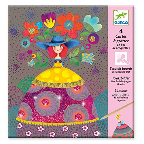 Djeco DJ09725 Kreativset Kratzbilder Ball der Jungen Grazien, Multicolour