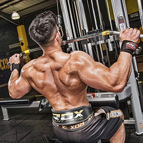 """Authentische RDX Leder Gewichtheben 4 """"Gürtel Wieder Haltegurt Turnhalle Krafttraining Fitness Schwarz - 2"""