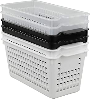 Kekow 6-Pack Small Plastic Storage Baskets for Office, Bedroom, Closet, Bathroom Counter Top