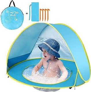 Lixada Pop Up Tienda Playa , Impermeable y Anti-UV, Tienda Infantil Plegable Automático con Una Piscina Interior para Bebés Niños que Juegan en Playa Jardín Parque Casa(Azul)