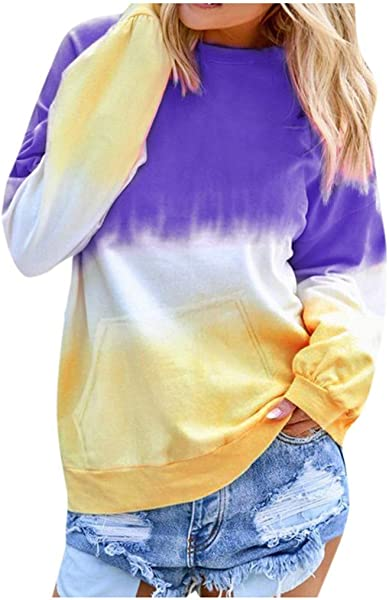 TWGONE Crewneck Sweatshirt Tie Dye Shirt Women Contrast Color Shirt Long Sleeve Pullover Tops