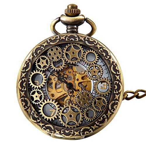 JewelryWe Retro Zahnrad Ritzel Hohe Openwork Handaufzug Mechanische Taschenuhr Skelett Uhr Pullover Halskette Kette Vatertagsgeschenk