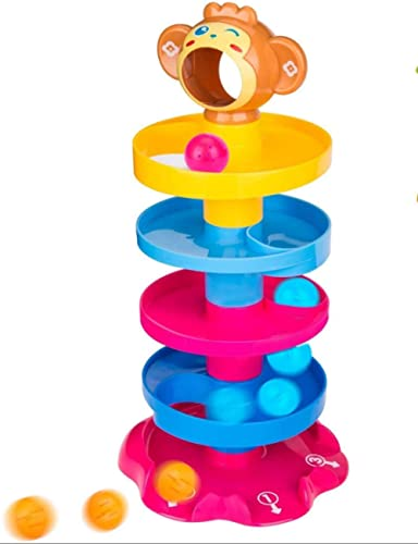 prime deals monkey ball drop toy for babies and toddlers | new 5 layer tower run with swirling ramps and 3 puzzle rat...