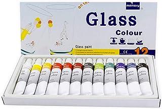 Leamer Lot de 12 peintures en verre non toxique Transparent pour vitrail pour verre, porcelaine, fenêtre, bouteille de vin
