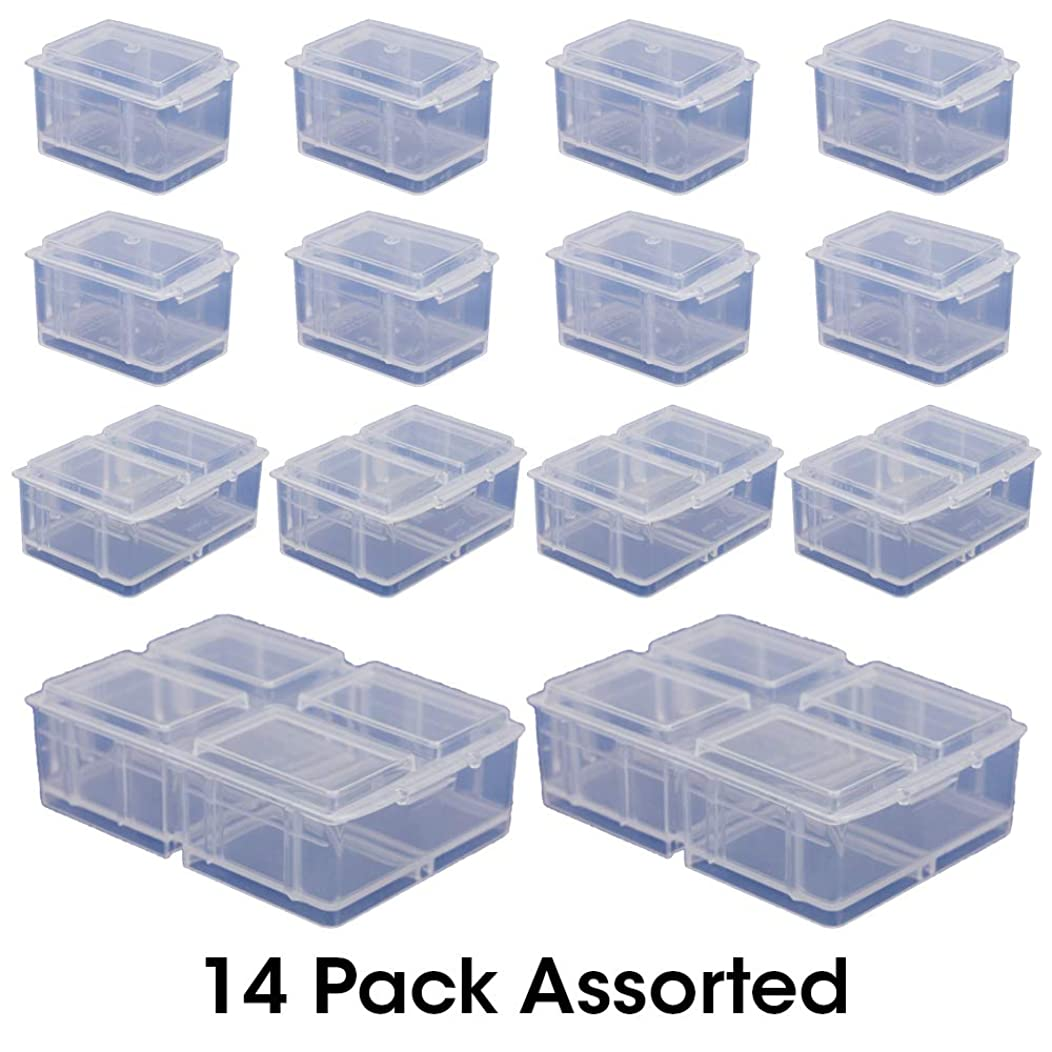 Connect-A-Box 14 pc Assortment from Cottage Mills. Small item storage system that connects and stacks. Perfect for little things like beads, findings and parts. Includes 8 S, 4 M and 2 L.