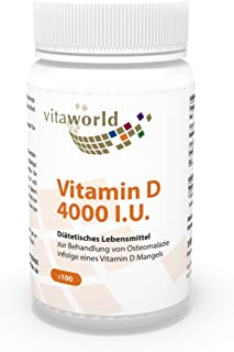 Vitamina D3 4000 I.U 100 Cápsulas Vegetales Vita World Alemania
