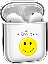 for AirPods Case, iBarbe AirPods Cases AirPod Case Protective Skin ClearTransparent Hard PC Crystals Cute Compatible with Apple AirPods 1/2 [Front LED Visible](Smile)