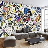 Apoart 3D Papel Pintado Mural Personalizado Moderno Popular Revista Collage Inglés Personalizado Fresco Tv Fondo Pared Estudio Dormitorio Papel Tapiz Mural300Cmx210Cm