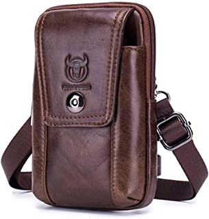 Haibeisi Fashion Unique Men's Shoulder Bag Top Layer Leather Belt Bag Leather Phone Shoulder Crossbody Bag (Color : Brown, Size : M)