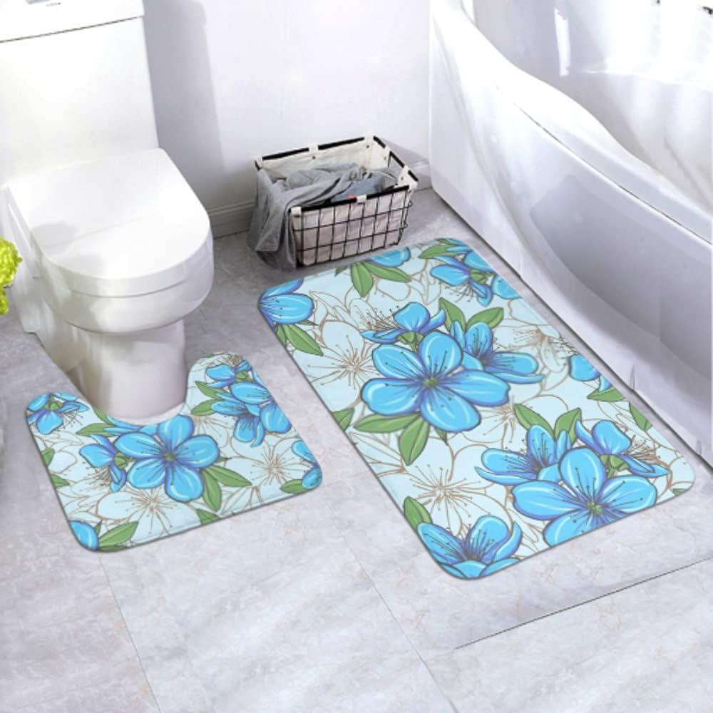 Bath Bargain Mat Set Decorative Floral Max 80% OFF Seamless P Flowers Blue Pattern 2