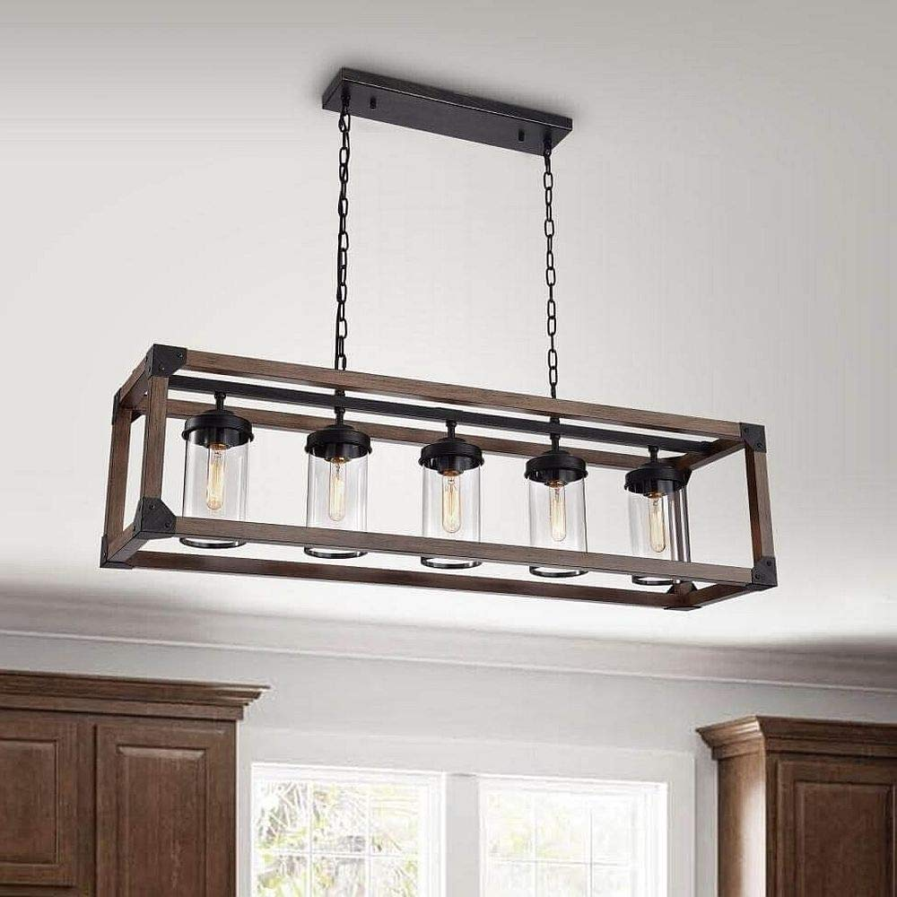 Modern Farmhouse Chandelier Suitable For Dining Rooms And Kitchen Island Areas Rectangular Linear Hanging Lamp Provides Ample Illumination Rustic Wood Long Light Fixture Creates Timeless Atmosphere Buy Online In Barbados At Barbados Desertcart Com