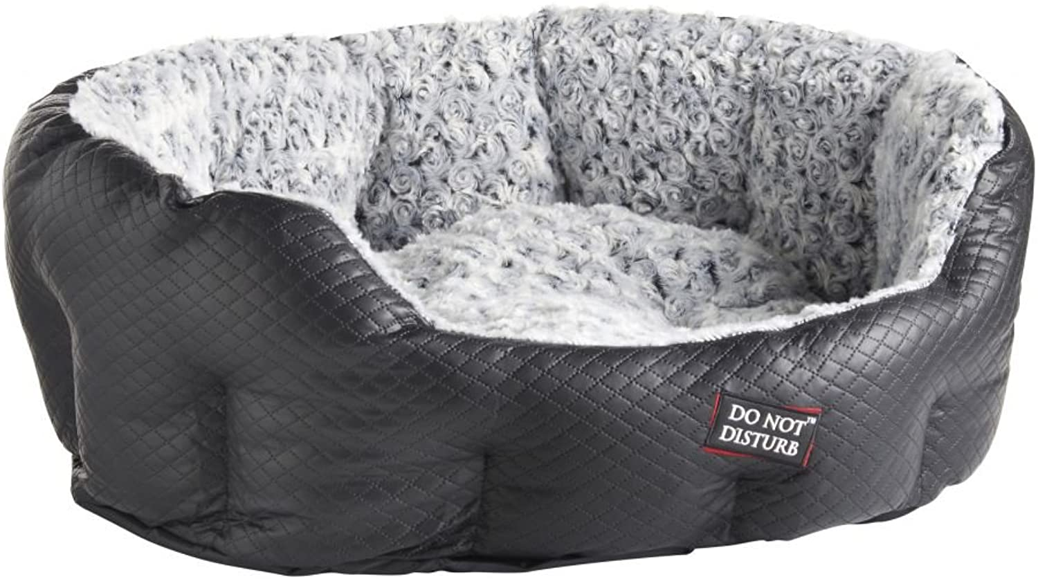 Do Not Disturb Quilted Faux Leather and Grey pink Fur, 71cm, Black