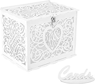 Wedding Card Box, Money Box With Lock Slot, DIY Wooden Money Box, Used for Wedding Reception, Anniversary, Baby Shower, Birthday Party, Graduation Party Decoration(White)