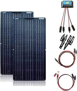 XINPUGUANG Kit de panel solar de 200 W, 2 unidades de 100 W, 18 V, módulo solar monocristalino flexible para autocaravana, barco, tienda de campaña, coche, remolque, batería de 12 V.