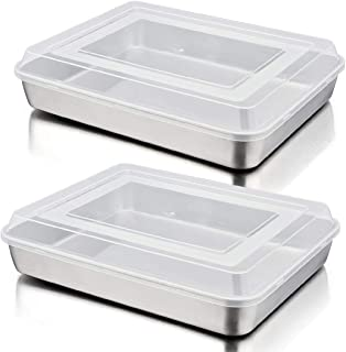 Baking Sheet Lasagna Pan with Lid Set of 4, P&P CHEF Rectangular Cake Pan Stainless Steel and Airtight Plastic Lids, Ideal...