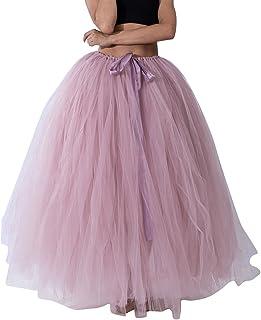 Elegante Falda Larga de Tul Plisada Tutu Malla de Noche Fiesta Moda Cintura Alta Elástica para Mujer