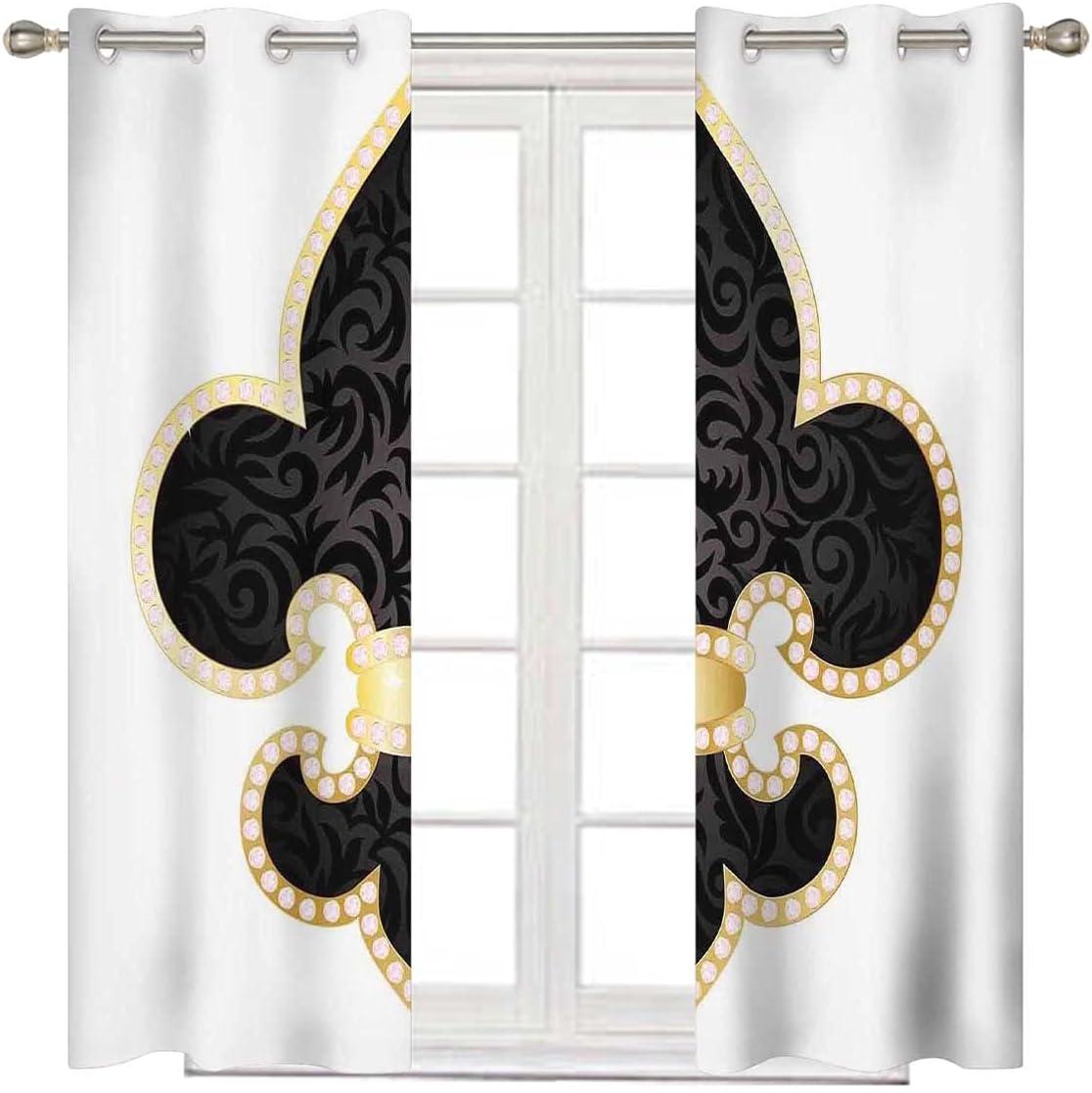 Fleur De Lis Decor Curtains Drapes Max 90% OFF Black Austin Mall Inches 84 Long Gold