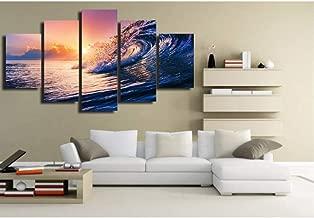 Sdefw Prints On Canvas 5 Pcs Printed Ocean Wave Blue Sea Sky Picture Wall Art Canvas Print Decor Poster Canvas A150X80Cm