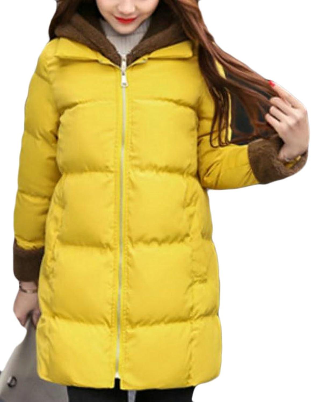 Pandapang Womens Casual Warm Fleece Hooded Zipper Down Coat Outwear Parkas