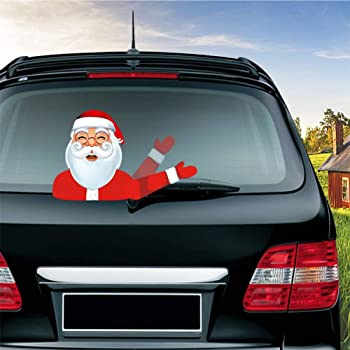 Santa Waving Car Sticker Windscreen Wiper Blade Christmas Xmas Novelty Decor