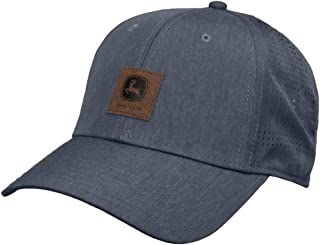 قبعة رجالية صغيرة من الجلد من John Deere Tractors، أزرق فاتح