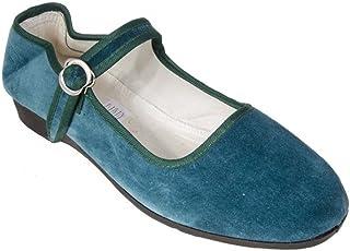 Sonnenscheinschuhe® Zapatos chinos de terciopelo, talla 36-42, color verde petróleo