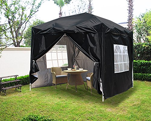 Greenbay Garden Pop Up Gazebo Party Tent Folding Wedding Canopy With 4 Sidewalls and Carrying Bag Black 2x2M