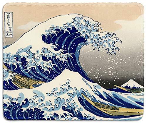 Art Mouse Pad - Naturkautschuk Mousepad Gedruckt mit Japan Art The Great Wave von Hokusai - Genähte Grenze
