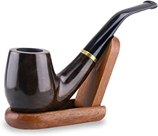 Joyoldelf Tobacco Pipes Maigret Black, Smooth, Bent, Hand Made + Stand
