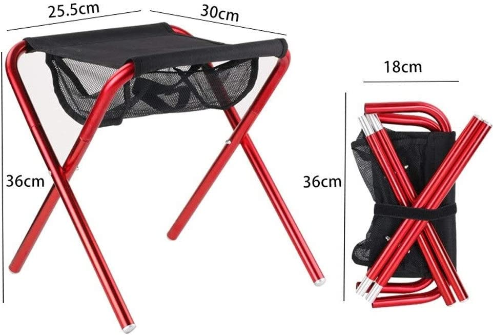 Chaise Longues Chaises Pliantes De Camping Avec Sac De Transport Aluminium Ultra-Légères Portatives Chaise De Plage, 2 Couleurs (Color : Black) Red